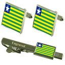 【送料無料】メンズアクセサリ— フラグカフスボタンタイクリップマッチングボックスpiau flag cufflinks engraved tie clip matching ..