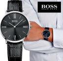 【送料無料】腕時計 ウォッチ ジャクソンヒューゴボススリムレザーウルトラアラームマニュアルブラックシルバー