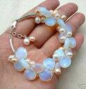 ショッピングUSB 【送料無料】ブレスレット アクセサリ— ムーンストーンパールブレスレットサイズlmzb04 charming moonstone pearl pearls silver plated bracelet adjustable size