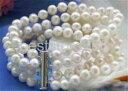 ショッピング真珠 【送料無料】ブレスレット アクセサリ— 4row 8mm7584row 758 8mm white round freshwater cultured pearl bracelet
