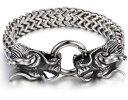【送料無料】ブレスレット アクセサリ— ステンレススチールビンテージチェーンリンクブレスレットバイカーダブルドラゴン104g heavy stainless steel vintage chain link bracelet biker double dragon charm