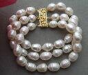 ブレスレット アクセサリ— ストランドホワイトライスパールブレスレットke101213 3strands natural 12mm white rice pearl bracelet