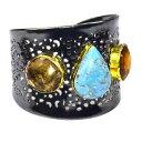 ショッピングアクセサリー 【送料無料】ブレスレット アクセサリ— ターコイズスモーキーカフジュエリーゴールドハンドメイドblue copper turquoise smokey cuff jewelry gold handmade jewelry