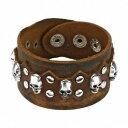 【送料無料】ブレスレット アクセサリ— ブレスレットbracelet brown leather skulls