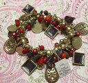 【送料無料】ブレスレット アクセサリ— ソフィアパープルレッドマットゴールドクリスタルビーズブレスレットストレッチlia sophia purple red matte gold crystal bead charm stretch bracelet nwt