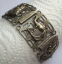 ショッピングモロッコ 【送料無料】ブレスレット アクセサリ— ブレスレットオールドシルバーモロッコリンクbeautiful bracelet old silver moroccan jewel carved large links 2347