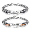 ショッピングセット 【送料無料】ブレスレット アクセサリ— ステンレススチールブレスレットパートナーブレスレットジルコンセットstainless steel bracelets partner bracelets with zircon filled set very classy pa3
