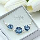 【送料無料】ブレスレット アクセサリ— シルバーブレスレットスワロフスキーデニム925 silver adjustable bracelet 10amp;12mm denim blue crystals from swarovski