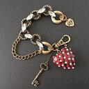 【送料無料】ブレスレット アクセサリ— ジョンソンハートブレスレットbetsey johnson school girl red plaid heart bracelet *rare*