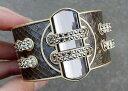 【送料無料】ブレスレット アクセサリ— ソフィアコレクションブラウンゴールドトーンカフブレスレットlia sophia kiam collection brown gold tone cuff bracelet excellent condition
