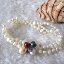 ショッピングパール 【送料無料】ブレスレット アクセサリ— ブレスレットバロックブレスレットカラー7 34mm 3row freshwater pearl bracelet baroque elastic bracelet acmore colors