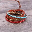 ショッピングターコイズ 【送料無料】ブレスレット アクセサリ— ファッションラップブレスレットレッドコーラルターコイズブレスレットwomen fashion 5 wrap bracelet red coral turquoise friendship bracelet jewelry