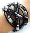 ショッピングusb 【送料無料】ブレスレット アクセサリ— アワビシェルシードワイヤーカフブレスレットビーズ;18 abalone shell seed beads memory wire cuff bracelet 68 adjustable ; fa088
