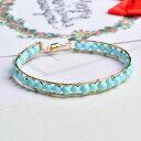 ショッピングファッション 【送料無料】ブレスレット アクセサリ— ファッションターコイズラウンドビーズkゴールドブレスレットcertified fashion fine natural turquoise round beads 14k gold bracelet gifts