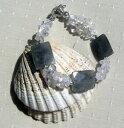 【送料無料】イタリアン ブレスレット カフクリアlabradorite amp; cristallo di quarzo chiaro gemstone bracciale frosty dawn