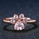 【送料無料】猫 キャット リング ピンクczベルcute pink crystal cz bear paw cat claw rings for women