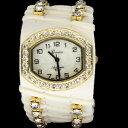 【送料無料】腕時計 ジュネーブレディースゴールドトーンホワイトクリスタルベゼルwomens gold tone white geneva crystal cz bezel quartz watch