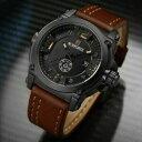 【送料無料】腕時計 ファッションスポーツレザークオーツfashion wristwatch watch men military sport waterproof leather quartz watch man