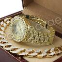 【送料無料】腕時計 ウェインヒップホップフリーメイソンkゴールドブレスレットセットサンドブラストmen lil wayne hip hop freemason 14k gold pt watch sandblast bracelet set f21g