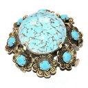 【送料無料】アクセサリー ネックレスブローチブローチbroche ancienne couleur or porcelaine bleu fleur strass bijou brooch