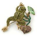 【送料無料】アクセサリー ネックレスオリーブオイルグリーンパープルガラスカエルブローチゴールドトーンオーストリアoliva, verde, morado austraco cristal broche de rana en tono oro 55mm l
