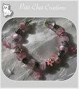 ショッピングブレス 【送料無料】アクセサリー ネックレスブレスレットローズクリップbracelet perles verre rose charms strass metal argente clip douceur