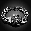ショッピングアイロン 【送料無料】アクセサリー ネックレス カフステンレススチールスカルクロスアイロンクロススカルbracciale acciaio inox skullamp;cross croce di ferro teschio death head