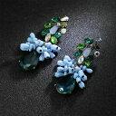 ショッピングREGAL 【送料無料】アクセサリー ネックレス ドロップウェディングピンイヤリングorecchini a perno lunga blu goccia verde originale matrimonio regalo xx 1
