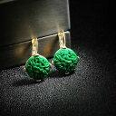 【送料無料】アクセサリー ネックレス イヤリングラウンドゴールデンレトロ×orecchini dormeuse dorato tondo motivo giada incisione verde resina retr x21