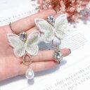 ショッピングmm 【送料無料】アクセサリー ネックレス メッキピンファブリックファッションイヤリングorecchini a perno dorato grandi farfalla bianca sta asimmetrico moda aa27