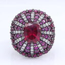 ネックレス ルビースターリングシルバードームリング663 ct labcreated ruby amp; pave sterling silver dome ring