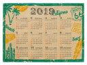 2019年 ジュート カレンダー 送料無料 ワンページ (カリフォルニア) アメリカン雑貨 インテリアポスター ハワイアン アジアン 雑貨 ハワイ お土産 メール便対応可 送料無料