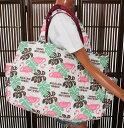 ハワイアン 雑貨/バッグ ハワイアン雑貨/フララニ 軽い 中綿 大トートバッグ 巾着タイプ(フラミンゴ&モンステラ/ホワイト)サーフブランド ハワイアン バッグ マザーズバッグ