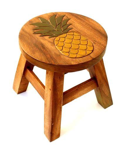 ハワイお土産 激安☆木製ラウンドスツール(パイナップル) ハワイアン雑貨ハワイ お土産 ハワイアン雑貨 インテリア