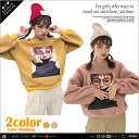★2COLOR★GIRLフォトプリント長袖ボアトレーナーカットソー★カットソー Tシャツ トップス トレーナーTシャツ トップス カットソー..