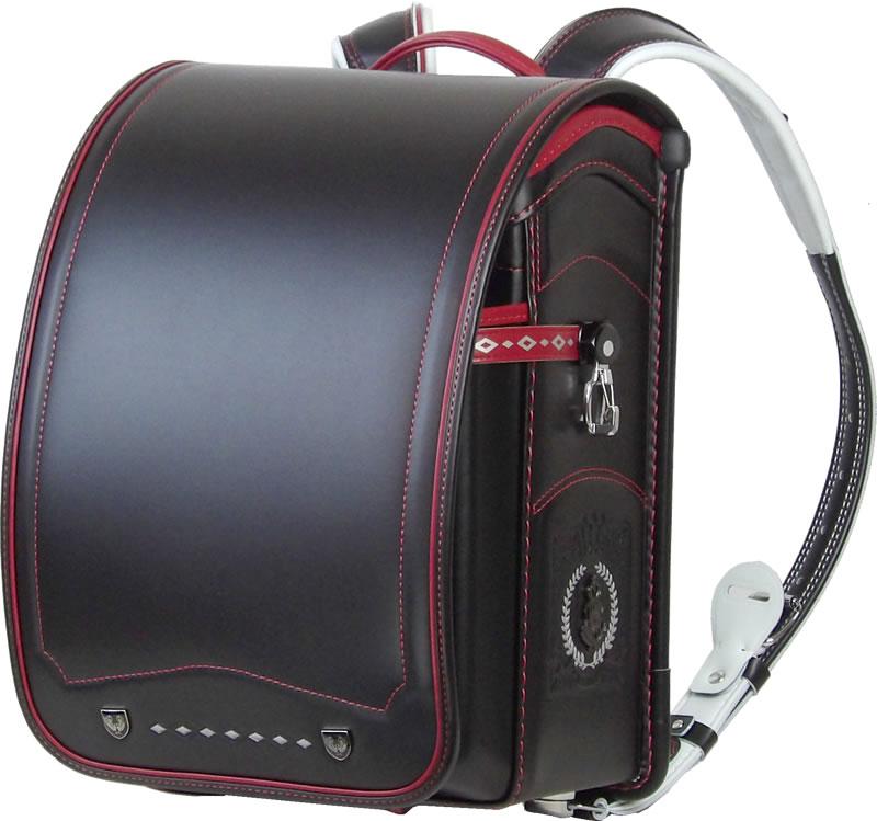 ふわりぃ 耐傷 ランドセル パイピンコンビ メガポケットモデル (黒×レッド)A4フラットファイル対応 送料無料