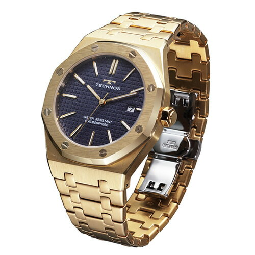テクノス メンズ腕時計 T9539GN グランドポート(ゴールド/ブルー)