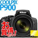 【★SD16GB&コンパクトカメラバッグ等セット】【送料無料】Nikon(ニコン) デジタルカメラ COOLPIX P900 ブラック【メール便不可】