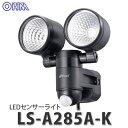 オーム電気 LEDセンサーライト LS-A285A-K (07-8726) [コンセント式 2灯]【メール便不可】