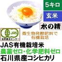 有機米 有機食用玄米 5kg・こしひかり「水の精」29年産 ...
