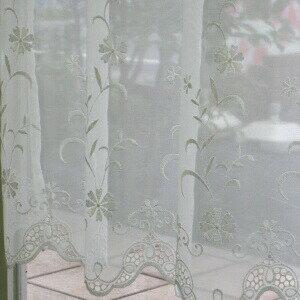 カフェカーテン(小窓用カーテン) レース 90cm丈(ロング) カフェカーテン オーダー(切り売り) EF-445 小窓をおしゃれに演出してくれる かわいい花柄刺繍のレースのオーダーカフェカーテン [メール便可/宅コン可]