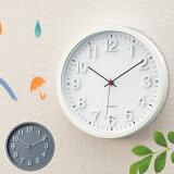 壁掛け時計/ウォールクロック(掛時計) 『掛け時計 ラウンド』[ホワイト/グレー] シンプルでおしゃれなウォールクロック 静かな連続秒針タイプです 結婚祝い,誕生日,新築祝いのプレゼント(ギフト)にも最適の時計 あす楽対応