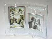 フォトフレーム 写真立て ウェディング 卓上用 結婚祝い ジュエリーチャーム ガラスフォトフレーム L判×2枚 クリアなガラスフレームとチャームがおしゃれな写真たて L判サービスサイズ2枚飾れます 結婚祝いのギフト(プレゼント)にぴったりのフォトフレーム