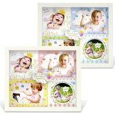 フォトフレーム 写真立て ベビー 壁掛け・卓上用 L判 4枚 出産祝い 『アミカ』 ピンク・ブルー L判(サービスサイズ)の写真を切らずに4枚(複数/多面) 赤ちゃんにぴったりのかわいいおしゃれなベビーフォトフレーム。出産祝いのギフト(プレゼント)に人気のフォトフレーム