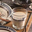 楽天北欧雑貨 マット プロヴァンスの風ディズニー タンブラーグラス ミッキー 『ブルックリンスタイル ガラスタンブラー』 ブラウン インディゴ ギフト ガラスコップ