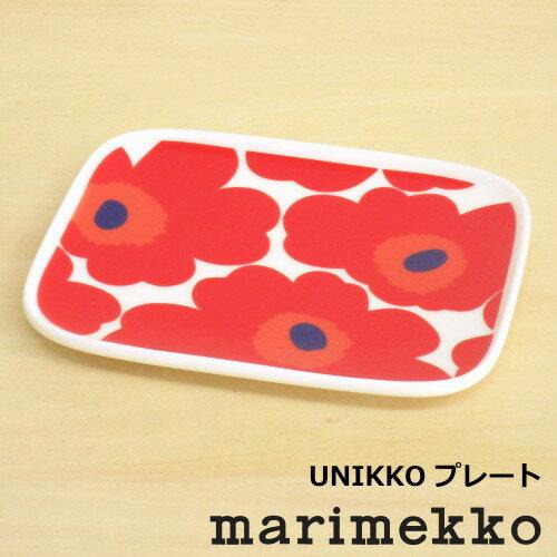 マリメッコ皿スクエア北欧食器ウニッコスクエアプレート15×12cm四角レッド北欧食器花柄おしゃれかわ