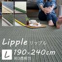 ラグマット 190×240cm(長方形) 洗える/滑り止め/床暖房・ホットカーペット対応 フランネル ラグ 『リップル』 [アイボリー/ブルー/グリーン/ブラウ...