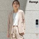 ジャケット テーラード セットアップ 麻調 8分袖 無地 通勤 オフィス レディース 春 夏 SALE セール Honeys ハニーズ テーラージャケット