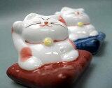 座布団 招き猫 ・赤青ペア/ 箸置き はしおき ハシオキ 【 美濃焼 】