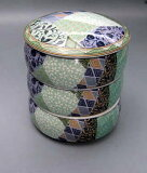 美浓 - 小绿色的迷你桌面小纹[/图片]具有丰富从三个方向三双 -[三段重 /卓上小物 緑彩小紋ミニ 【美濃焼】]